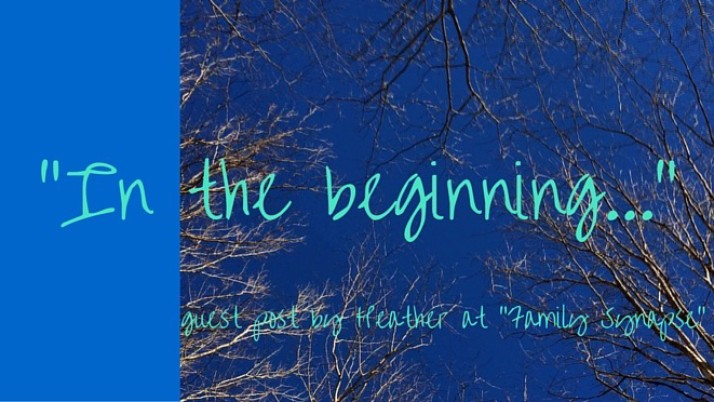 """In the beginning"" – a guest post from Heather  at ""Family Synapse"""